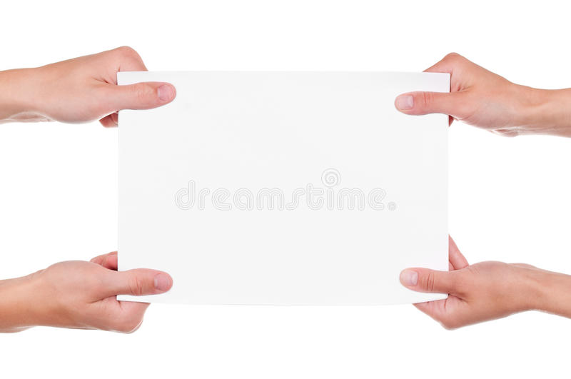 Download Hands and paper banner stock photo. Image of cardboard - 19790772