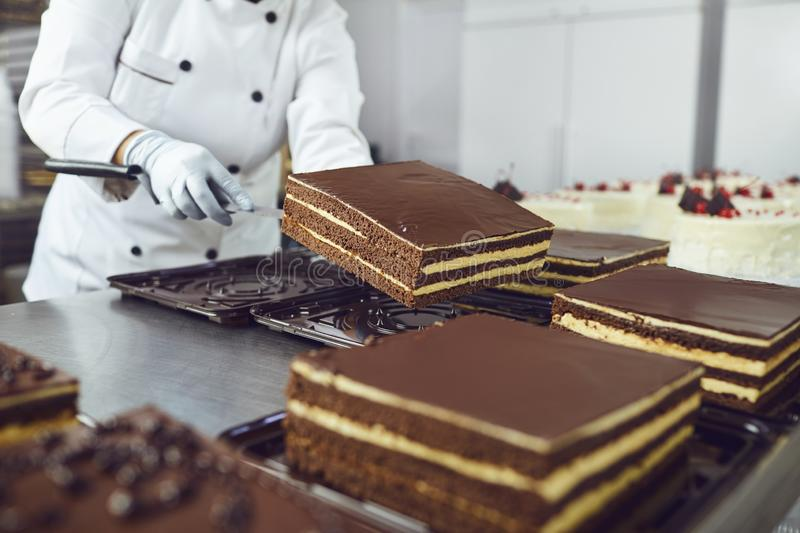 The hands of a pastry chef pack a chocolate cake in the bakery. royalty free stock images