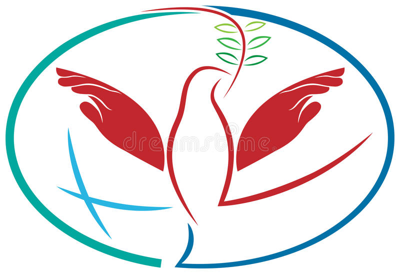 Hands peace bird royalty free illustration