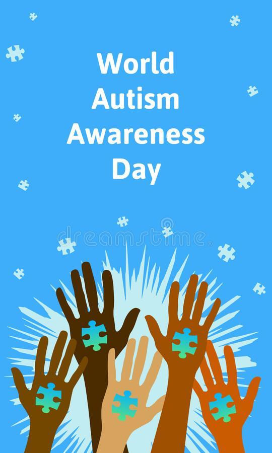 Hands of people of different races and contries and puzzle pieces. World autism awareness day 2th of April concept royalty free illustration