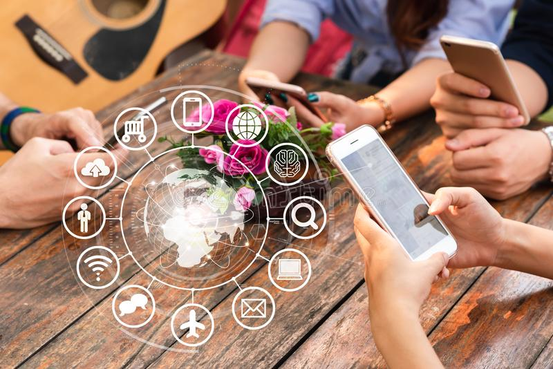 Hands of people use smartphone for connecting to various application, internet of things royalty free stock images