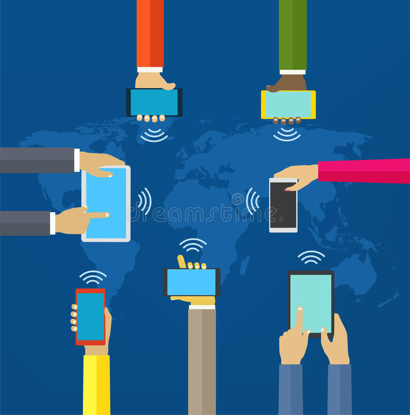 Hands with phones. Interaction hands using mobile and other digital devices. Concept worldwide network and mobile stock illustration