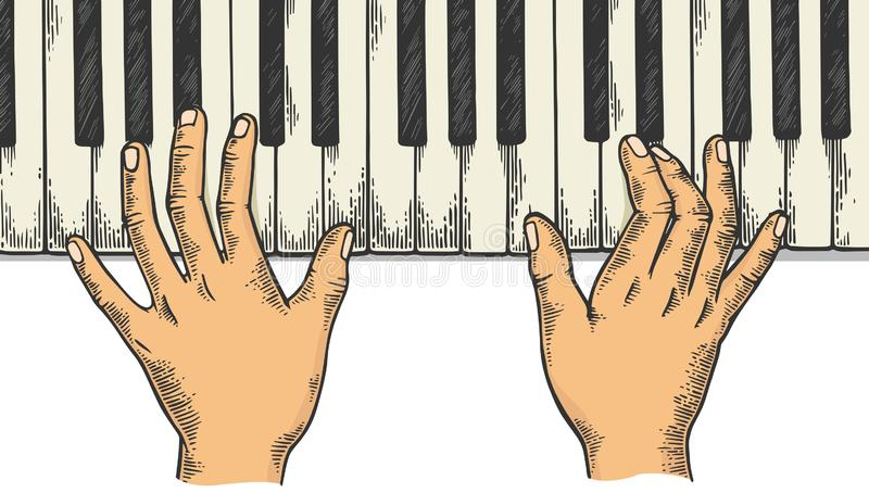 Hands and piano engraving vector illustration. Hands and piano keys color sketch engraving vector illustration. Scratch board style imitation. Black and white stock illustration