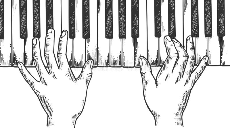 Hands and piano engraving vector illustration royalty free illustration
