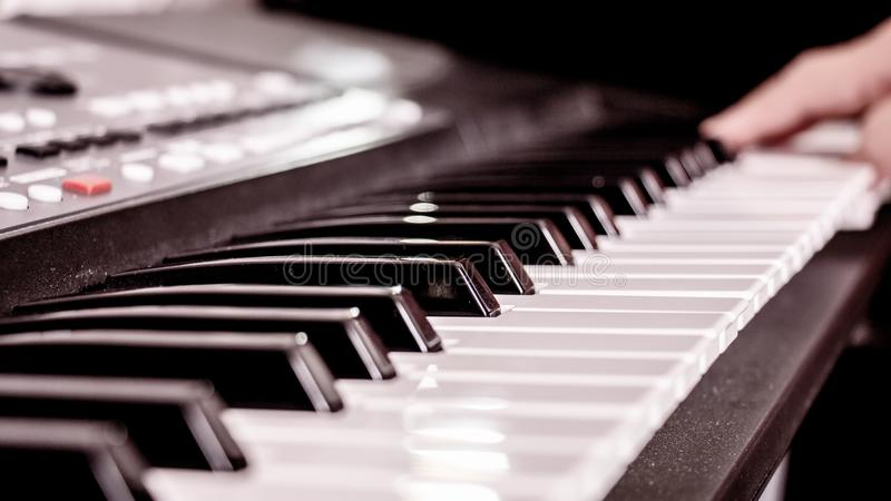 Hands on the piano royalty free stock photo