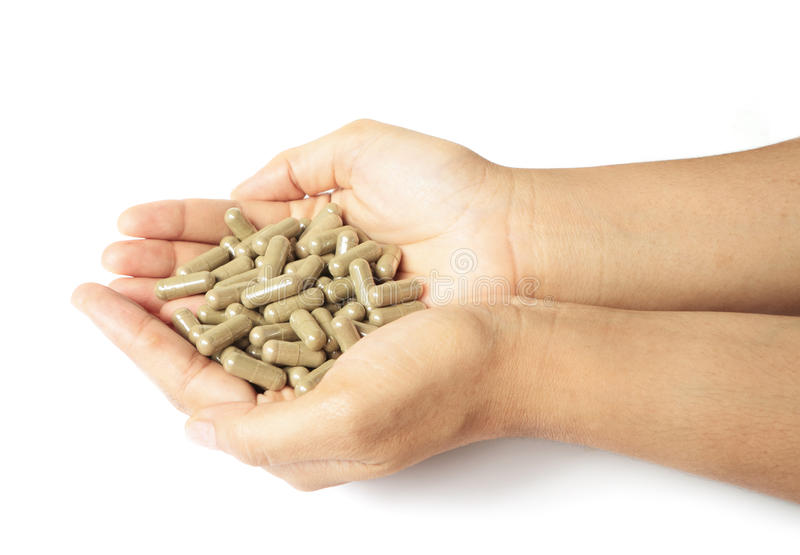 Hands with a pills royalty free stock photo