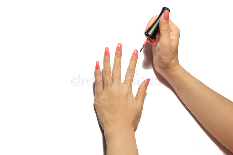 Hands with pink manicure. Hands and nails with pink manicure royalty free stock photos