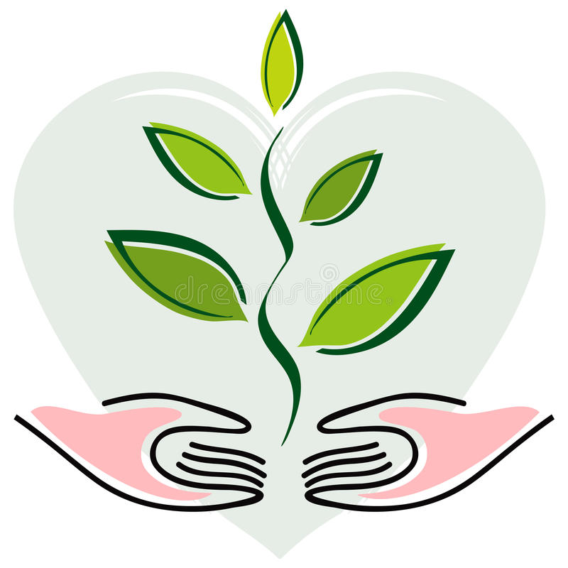 Hands and Plant on Heart Background royalty free illustration