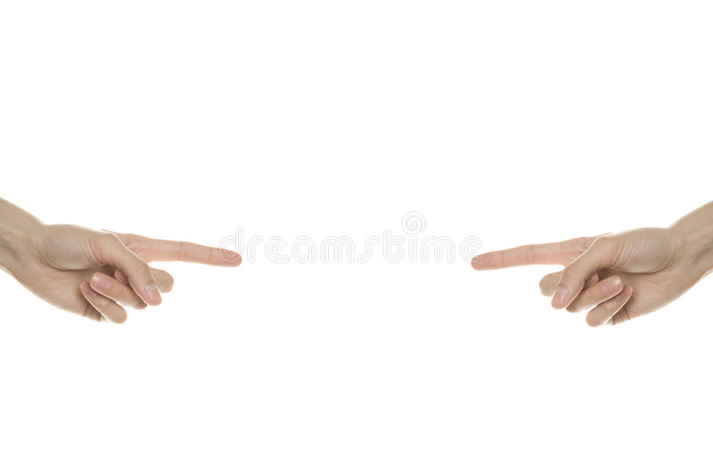 The hands point to the center royalty free stock image