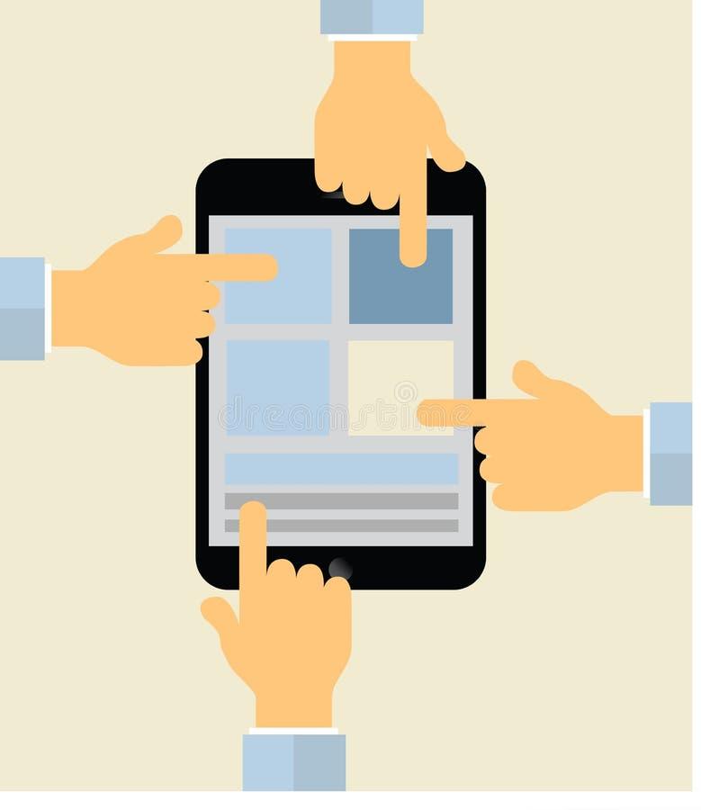 Hands pointing on tablet display illustration royalty free illustration