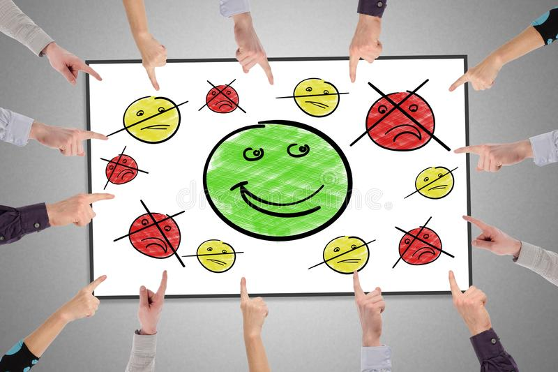 Customer satisfaction concept on a whiteboard stock photos