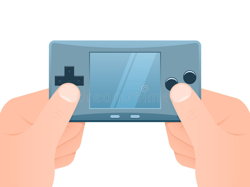 Hands with portable games console