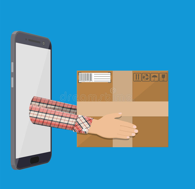 Hands with postal cardboard box and smartphone. vector illustration