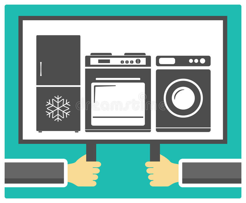 Hands, poster and home appliances. Background with hands, poster and home appliances stock illustration