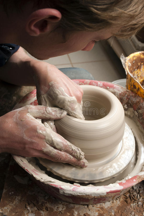 Download Hands Of A Potter, Creating An Earthen Jar Stock Images - Image: 25730814