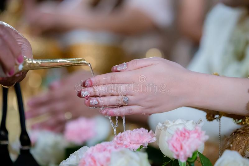 Hands pouring blessing water into bride`s bands, Thai wedding.Wedding ceremony in Thailand. Hands pouring blessing water into bride`s bands, Thai wedding royalty free stock image