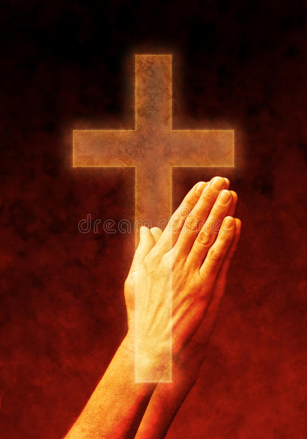 Hands Prayer Praying Cross Christian. A mans hands in prayer with a sepia tone and a cross overlaid on top
