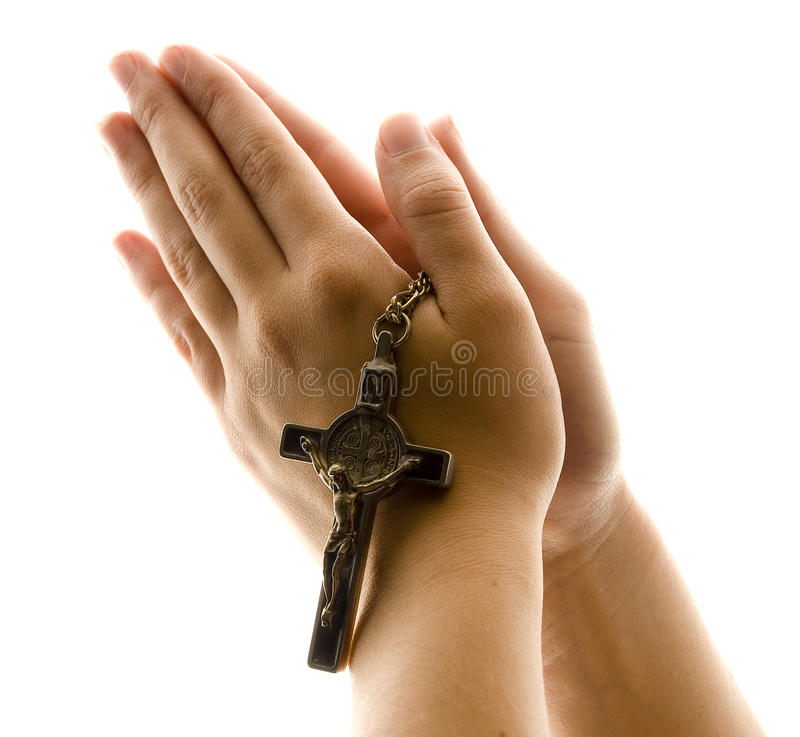 Hands in Prayer with Crucifix royalty free stock photos