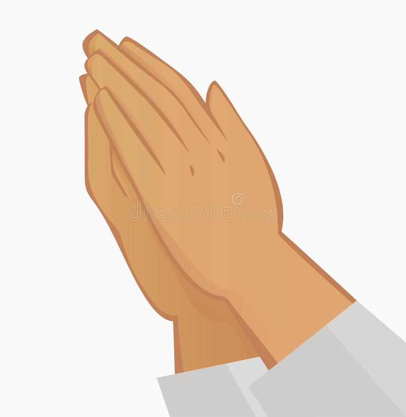 Praying hands. Illustration on white background. stock illustration