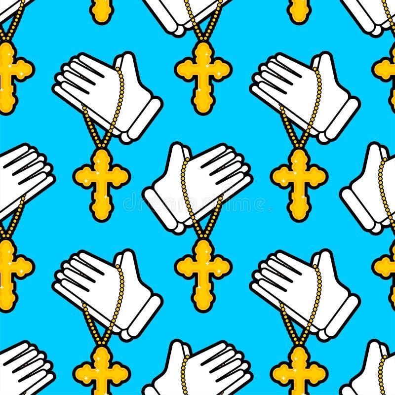 Hands in prayer pattern seamless. Religion background. vector texture vector illustration