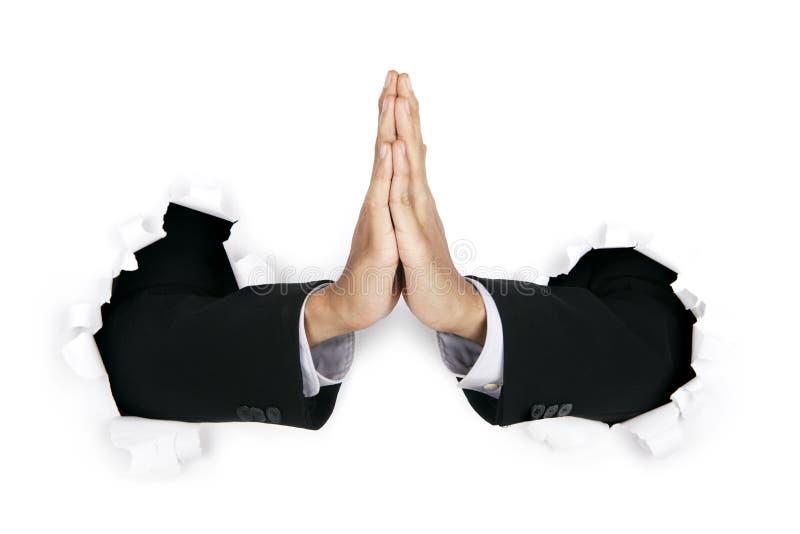 Hands Of Praying Businessman Royalty Free Stock Photos