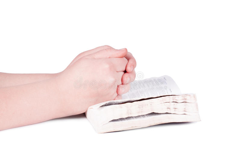 Hands praying person royalty free stock photo
