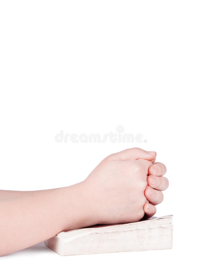 Hands praying person stock photo