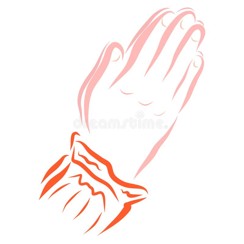 Hands of a praying woman or girl, religion royalty free illustration