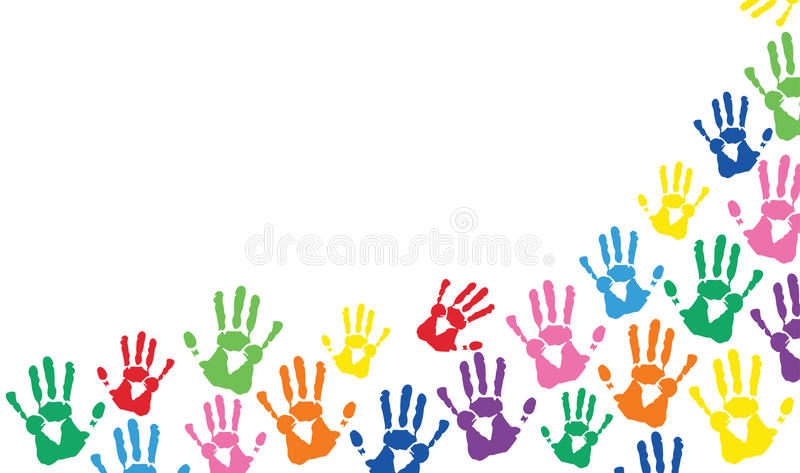 Hands Prints Colorful Vector Background Stock Vector