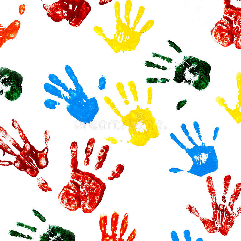 Prints of hands of child stock photo
