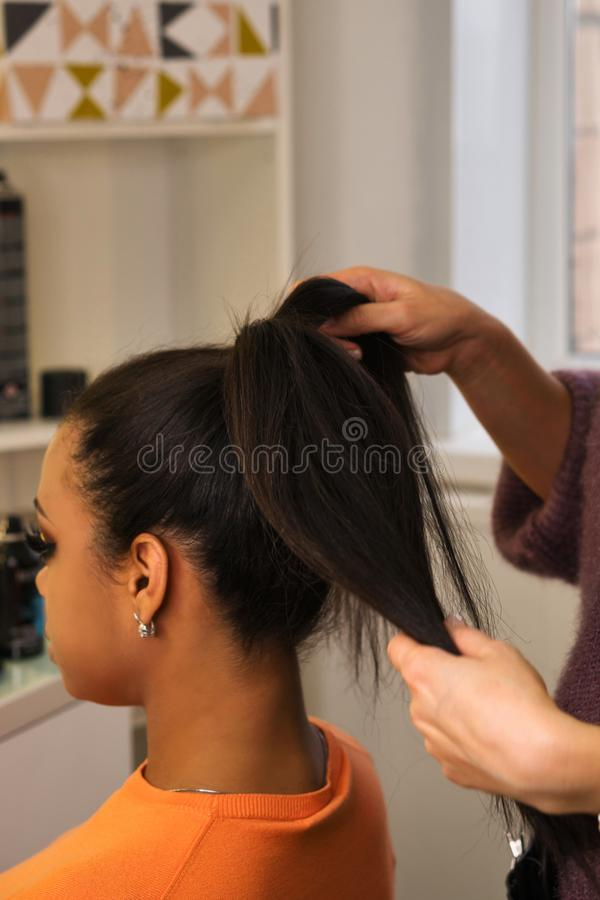 Process of creating hairstyles royalty free stock photos
