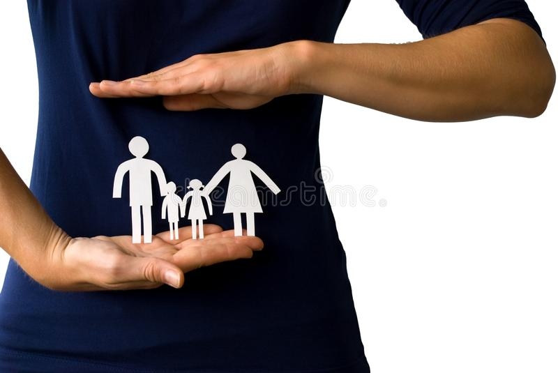 Download Hands Protecting A Paper Chain Family Stock Image - Image of security, poor: 28913245