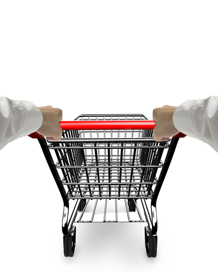 Hands pushing 3D empty shopping cart stock images