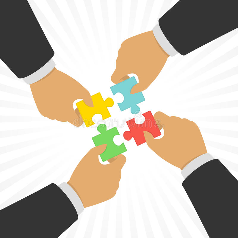 Hands putting puzzle pieces together. royalty free illustration