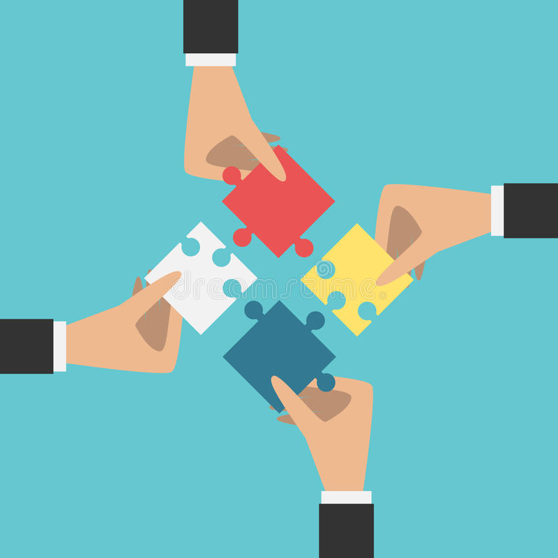 Hands putting puzzles together vector illustration