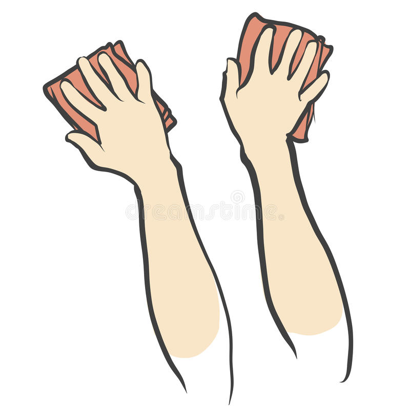 Hands and Rags isolated Sketch. Hand drawn vector sketch stock illustration
