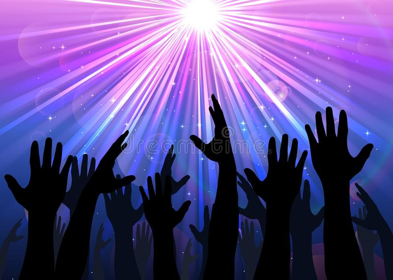 Hands raised from the people with light colourful royalty free illustration