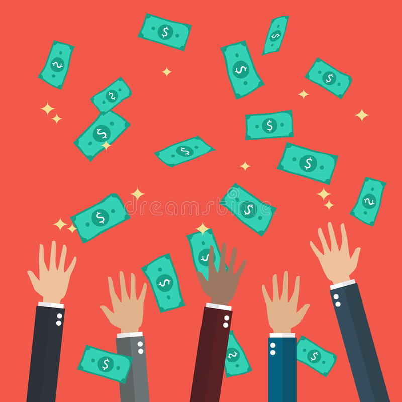 Hands raised throwing and catching money in the air vector illustration