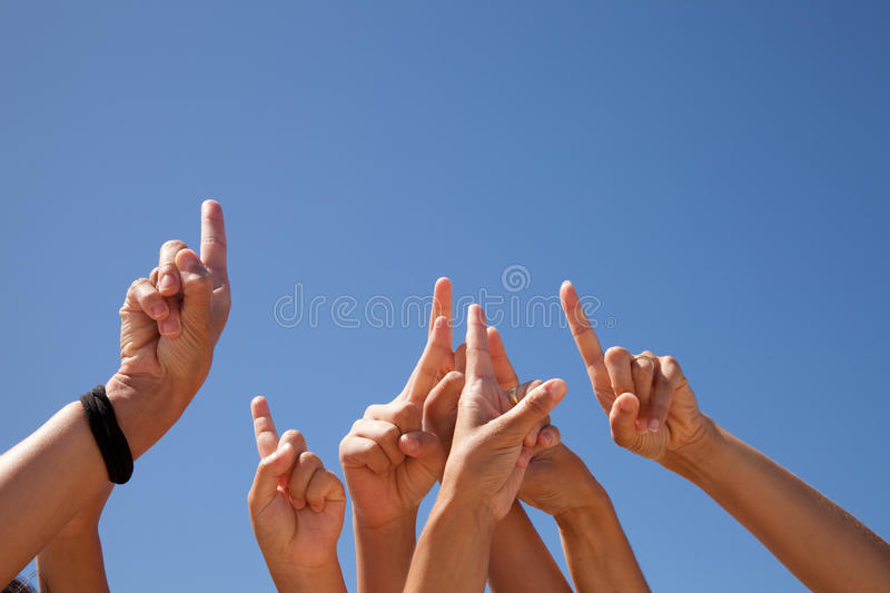 Download Hands raised to the sky stock photo. Image of partnership - 12374190