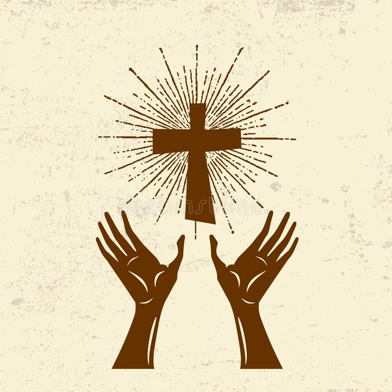 Hands raised up, worship of the Lord Jesus Christ vector illustration