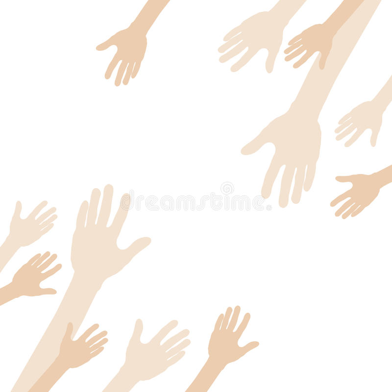 Download Hands Reach Toward The Center. Stock Vector - Illustration: 16175123