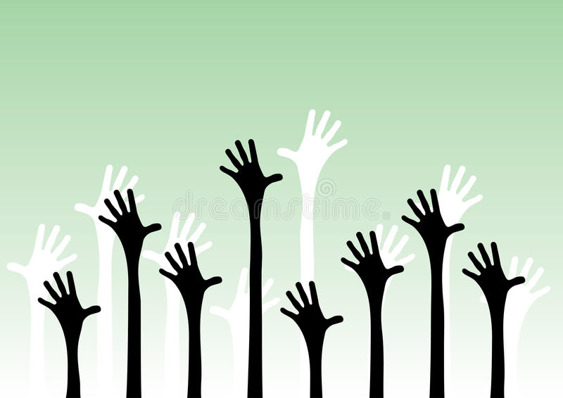 Download Hands reaching in the air stock vector. Image of background - 15043626