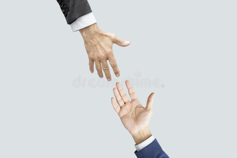 Hands reaching each other. People hands reaching each other stock photography