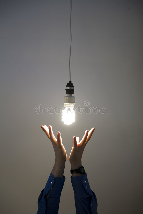 Download Hands Reaching For Light Bulb Stock Image - Image: 5112783