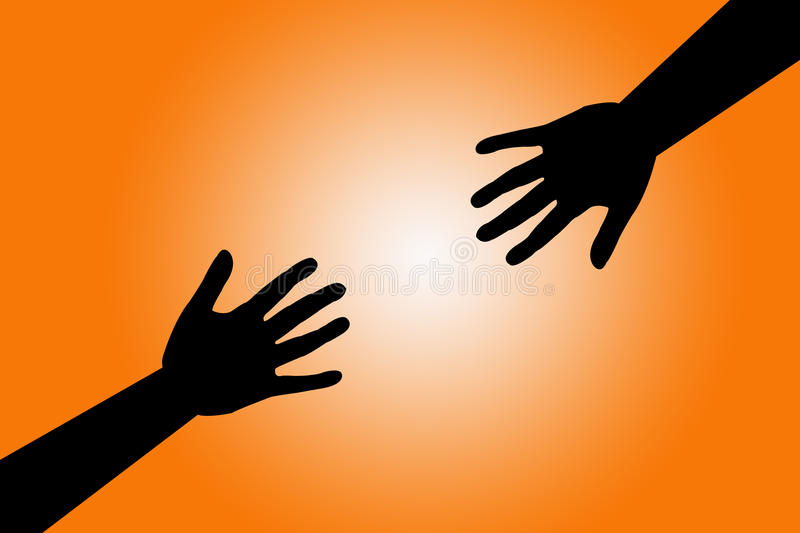 Hands reaching out vector illustration