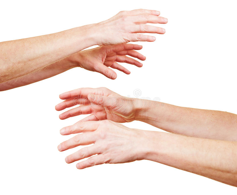 Hands reaching out in despair royalty free stock photos