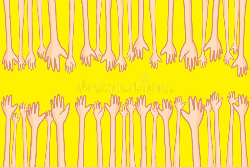 Hands reaching out and helping lots of connecting people. Cartoon illustration of large group of hands reaching out and helping people connecting royalty free illustration
