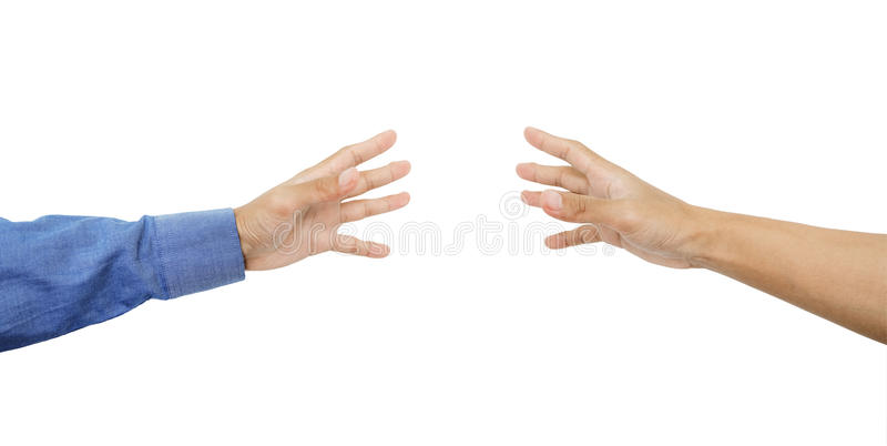 Hands reaching out with skin tan, on white background stock photos