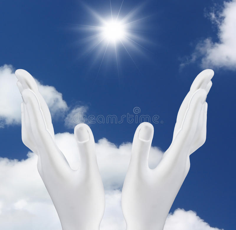 Hands reaching out the sun vector illustration
