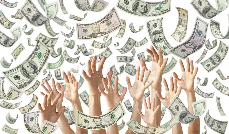 Falling Money Hands Dollars Banner Background royalty free stock images